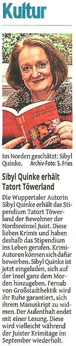 Sibyl Quinke erhält den Tatort Töwerland